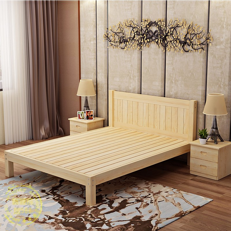 Shipping all solid wood bed 1.8 double 1.5 adult single 1.2 pine logs tatami simple children bed