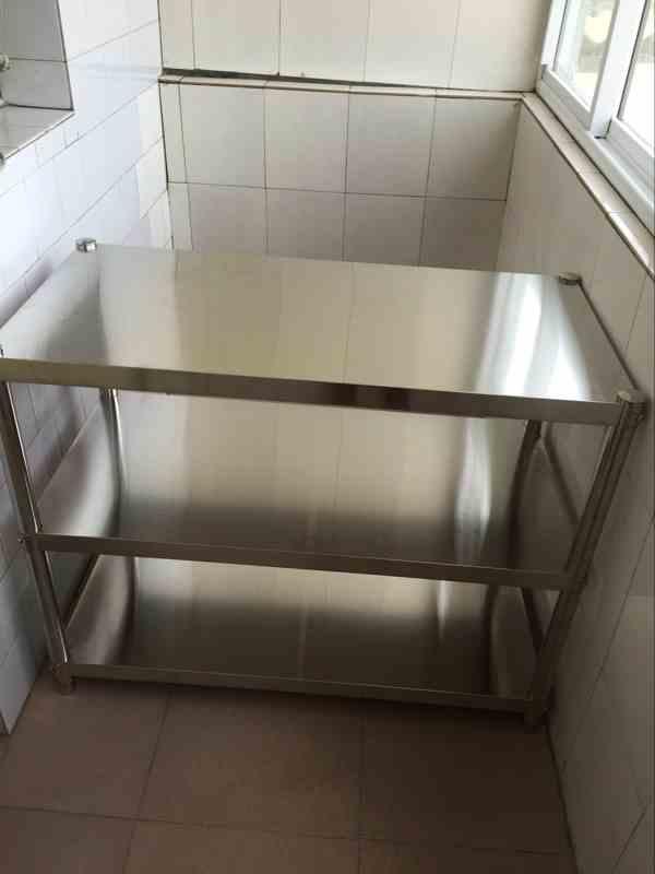 Rack de almacenamiento estante de cocina de acero inoxidable de 3 capas de suelo con marco personalizado el horno microondas los estantes de tres capas