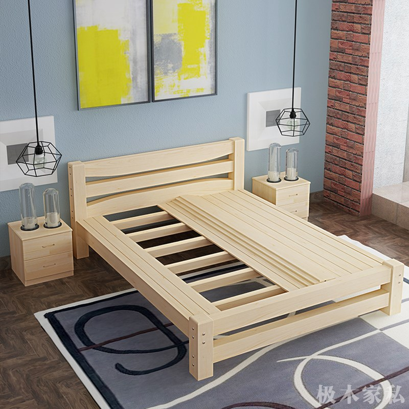 [new] simple pine wood beds, children's bed, 1.2m single bed, 1.5m1.8m double bed, special pass