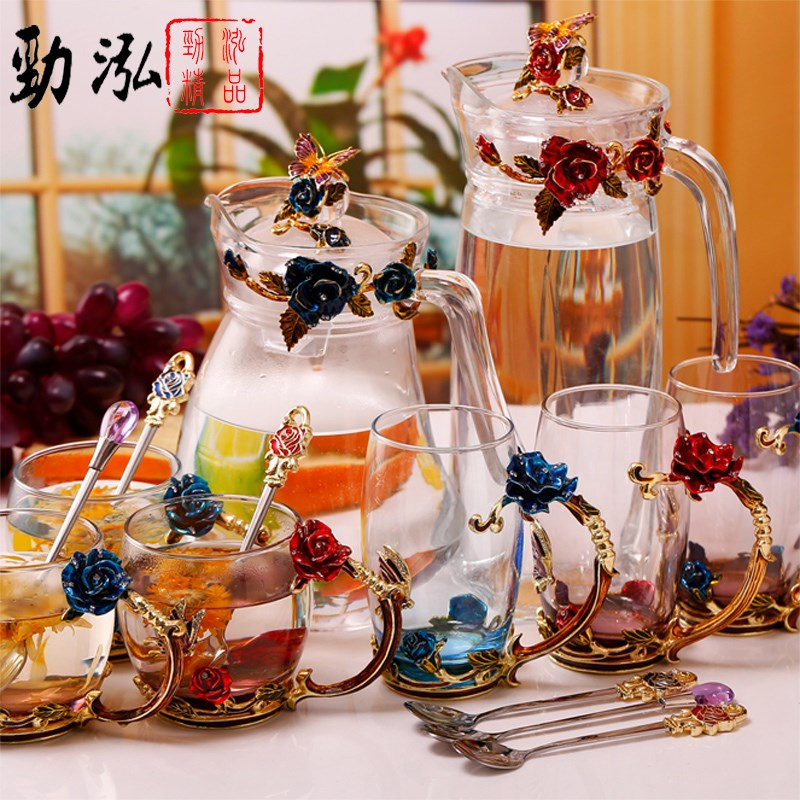 Bright enamel color cup Rose creative birthday gift tea cup belt to heat a heat-resistant crystal glass