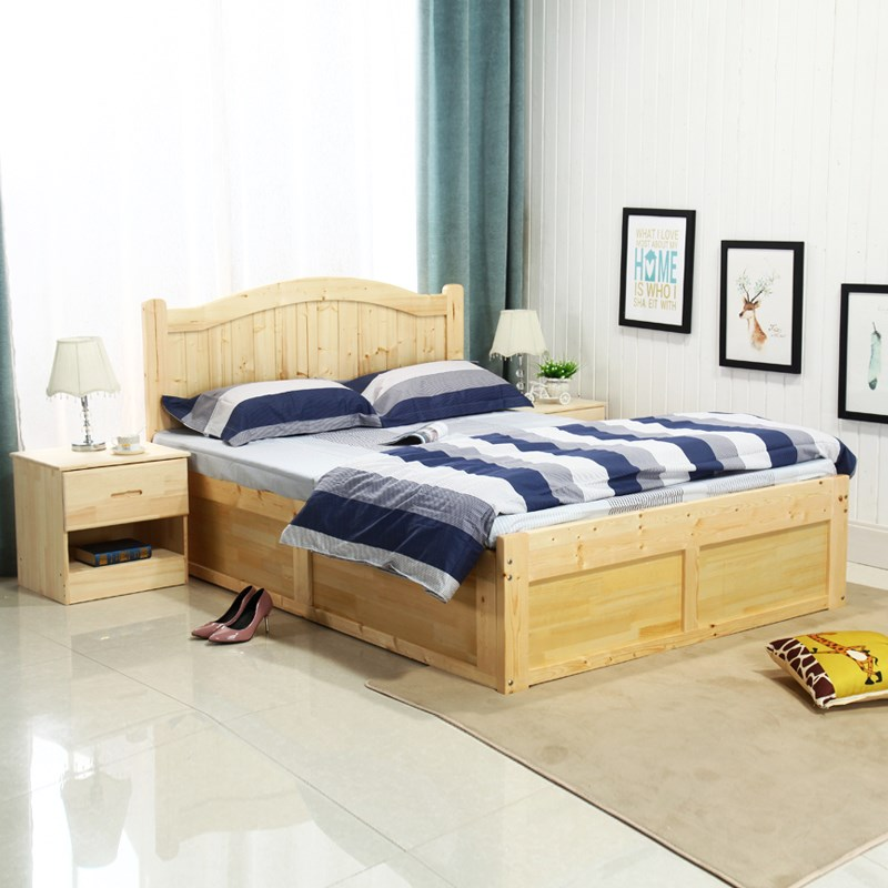 Solid wood bed, high box drawer bed, modern simplicity, single and double economy 1.8 meters 1.5m storage bed board