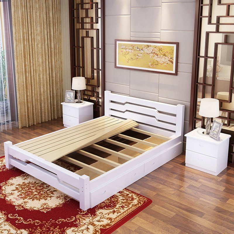 Modern simple solid wood bed, 1.5 meters single bed double bed, 1.2.8 pine board, adult simple economical master bedroom