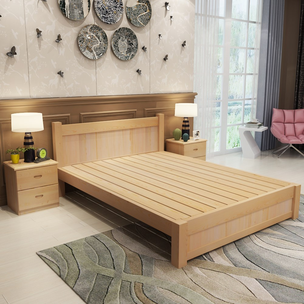New mail single bed, 1.2 double bed, 1.5m1.8 meter economy simple pine bed, children's bed, solid wood