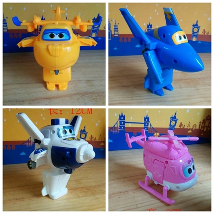 Only the Super 8 turned the aircraft children's educational toys Xiaoqing small love full set of non flying suit large deformation