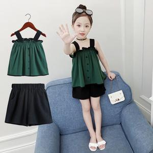 童装女童夏装套装2019新款韩版儿童女孩夏季短裤洋气时髦两件套潮
