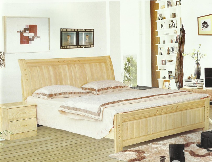 [factory direct selling] Sichuan Chengdu / solid wood bed / pine bed / pine longan bed / double bed / back bed