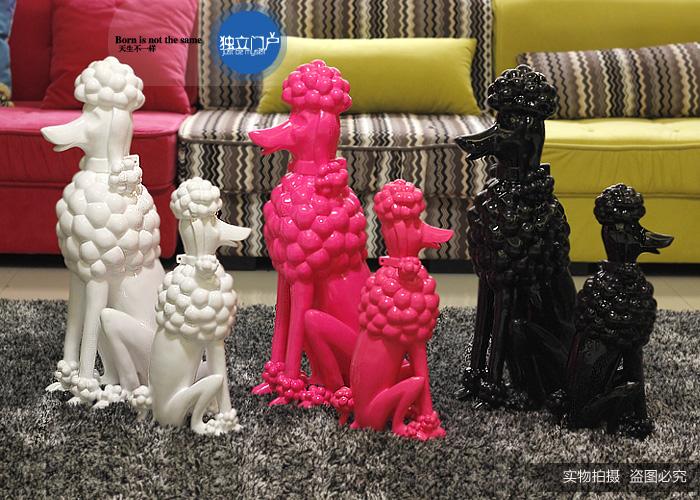 小號粉色貴婦高亮三色貴婦犬歐式現代家居高端寵物店會所時尚裝飾品樹脂擺件小