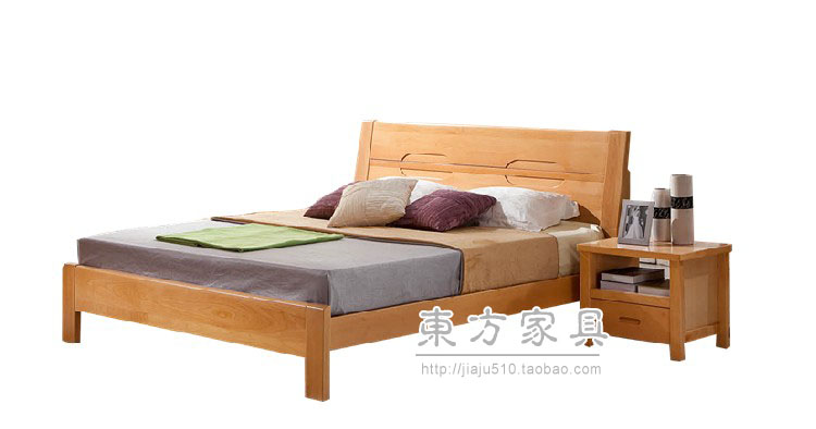 Germany imports beech real brothers 1.8 meters beech double solid wood bed 655