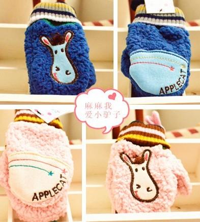 韩国品牌羊羔绒小驴子河马宝宝儿童男女童手套 冬款动物手套