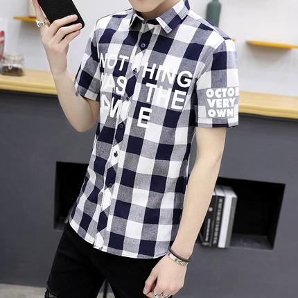 42夏季新款格子短袖衬衫男时尚帅气休闲衬衣男韩版修身半袖寸衫潮