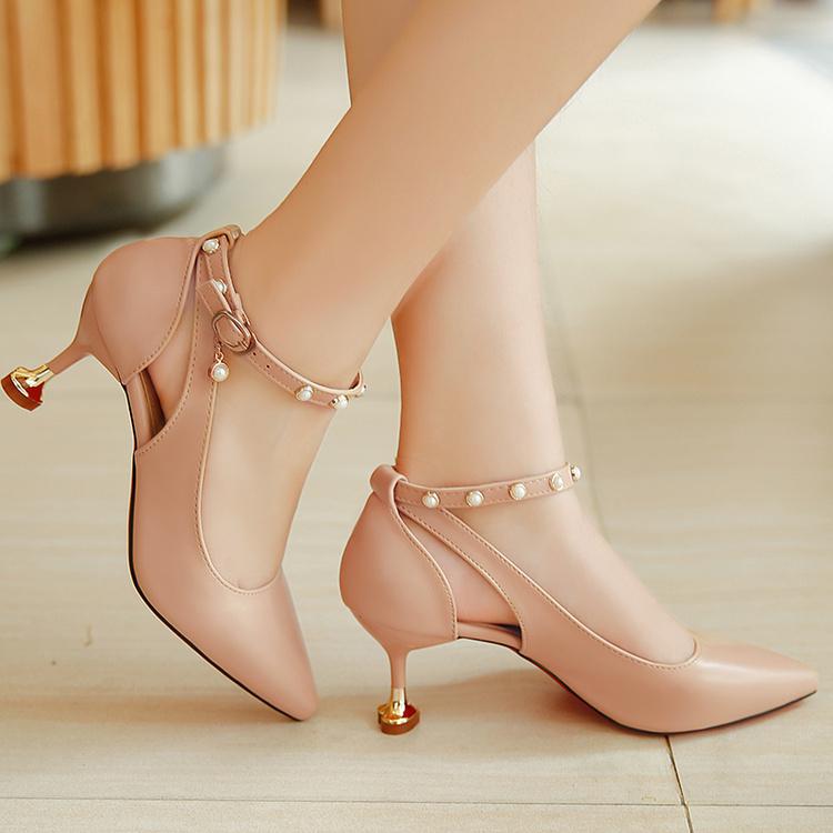 秋季高跟鞋女细跟韩版中跟5cm一字扣带铆钉镂空尖头浅口工作单鞋