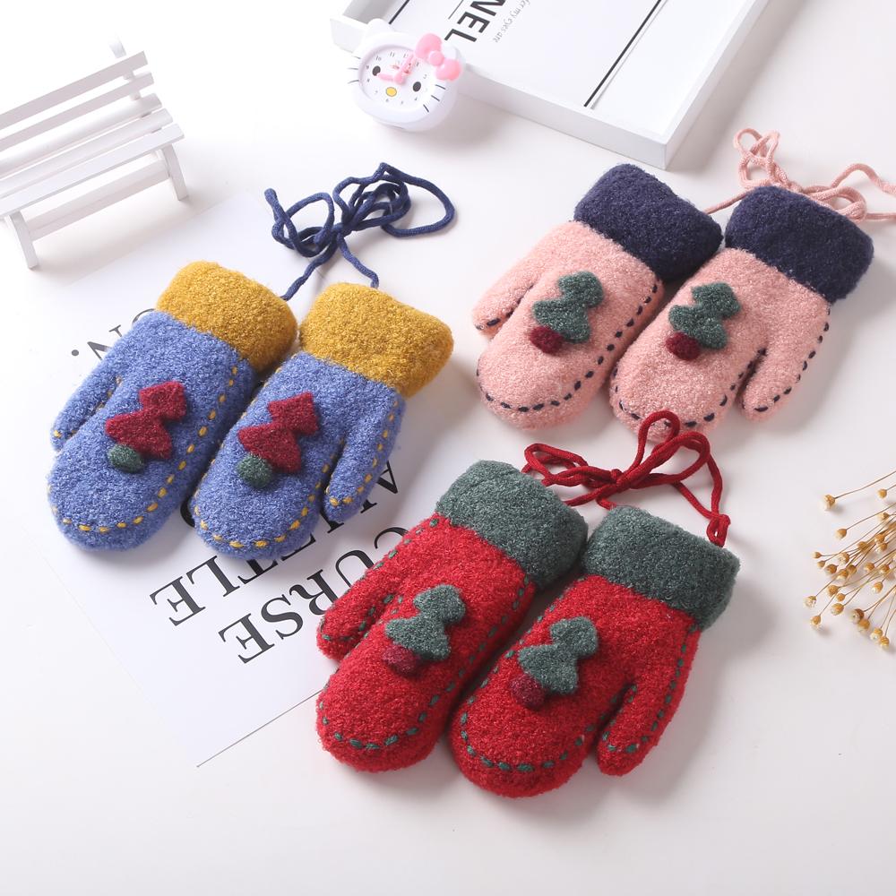 儿童手套冬加绒加厚4-7岁男女童圣诞树可爱卡通宝宝手套连指挂脖
