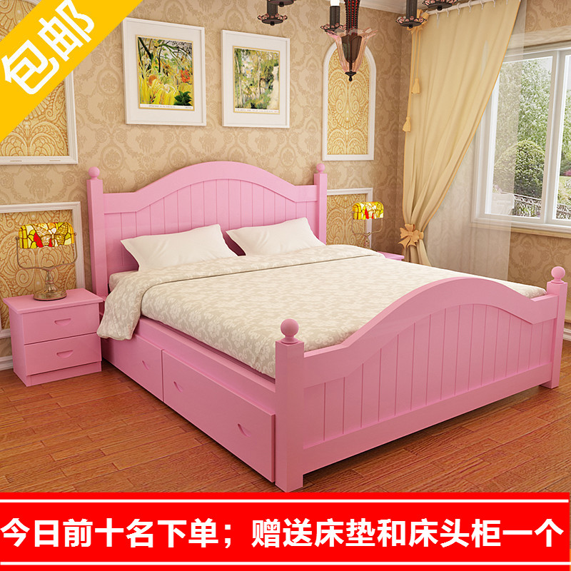 Korean bed, rural bed, princess bed, solid wood double bed, European style bed, American high box bed, pneumatic storage bed, white