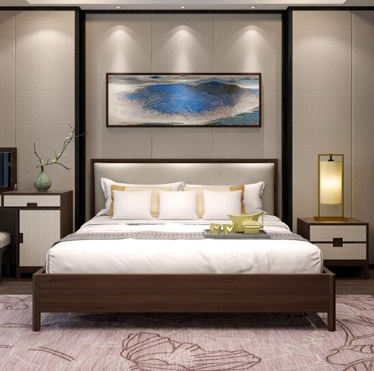 The new Chinese modern minimalist wooden bed double soft cloth on the hotel bed bedroom furniture Zen 1.8 m bed
