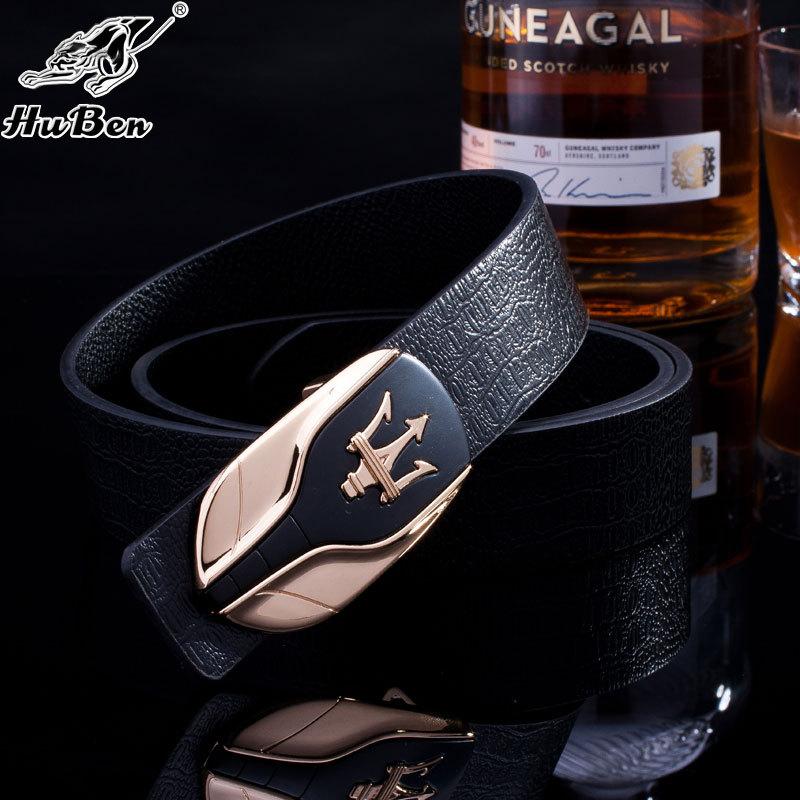 丈夫な頭の牛皮のベルトの滑らかなベルトのスムースは新型は欧米のビジネスの修身の男性の通用する革のベルト