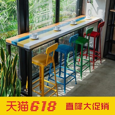 Bar Tables and Chairs Solid wood home against the wall window Starbucks coffee tea shop high strip table
