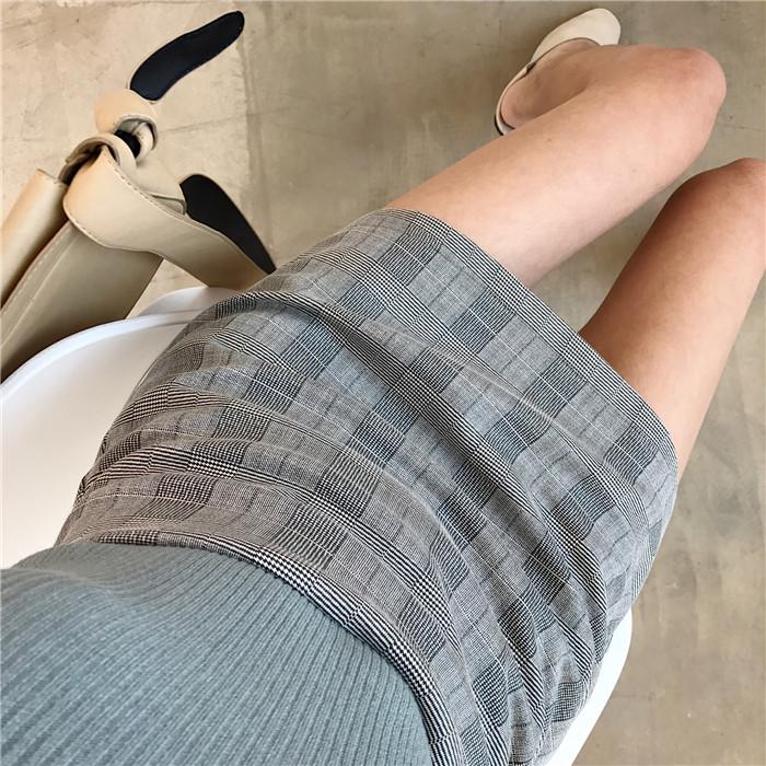 韓版chic復古高腰顯瘦格子半身裙氣質百搭短裙女鼕季包臀裙A字裙