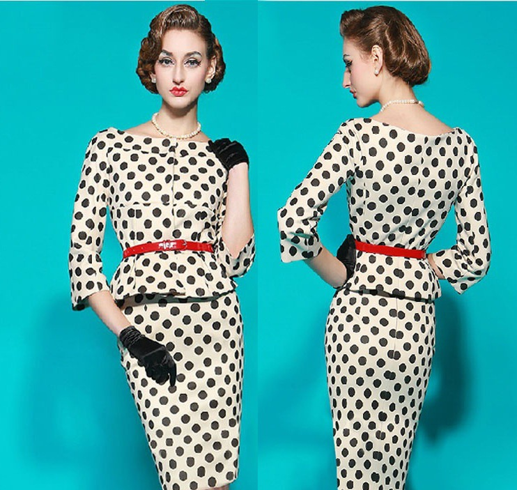 ebay 亞馬遜歐美熱賣中袖復古波點圓領修身彈力包臀鉛筆連衣裙