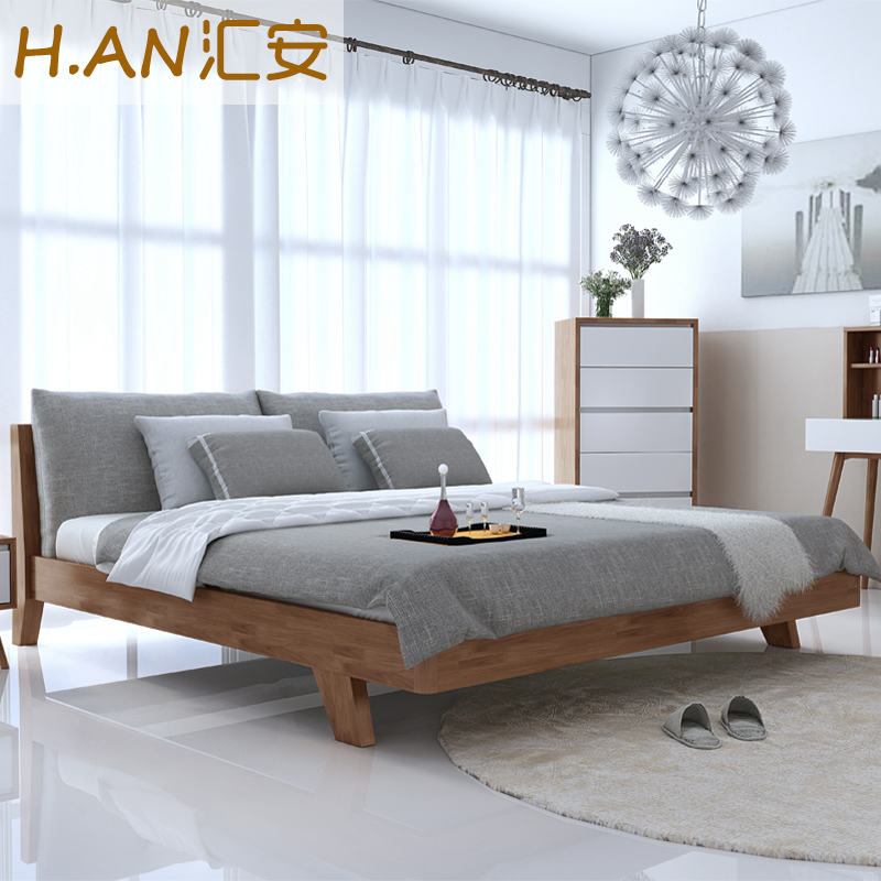Pure 1.5m1.8 1.2 single bed double bed meters by Japanese modern minimalist master bedroom furniture upholstered soft bed