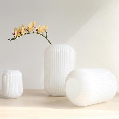 差不多先生 现代简约创意白色烤瓷玻璃花瓶家居客厅餐桌插花瓶