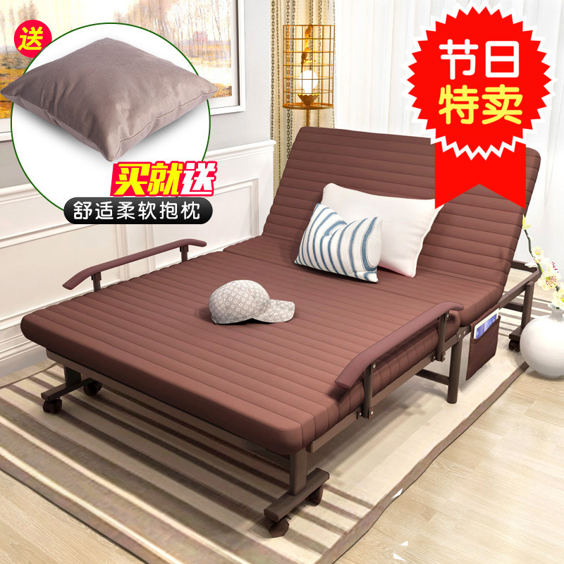 Lovely solid wood bed, thickening fabric, sofa contraction, Japanese adult single bed, lunch break, double Jian Yichuang