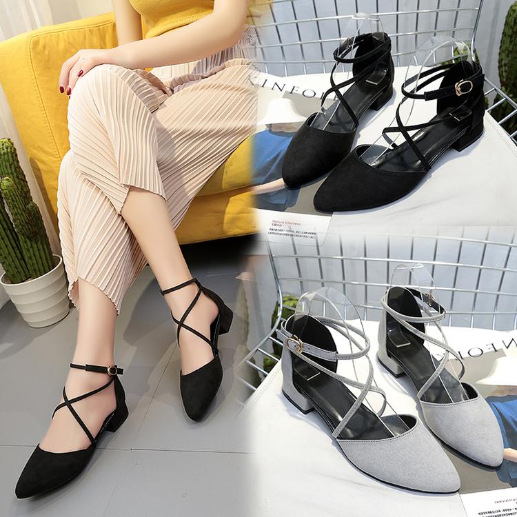春季新款韓版高跟鞋尖頭中跟粗跟絨面單鞋交叉綁帶羅馬涼鞋女鞋子