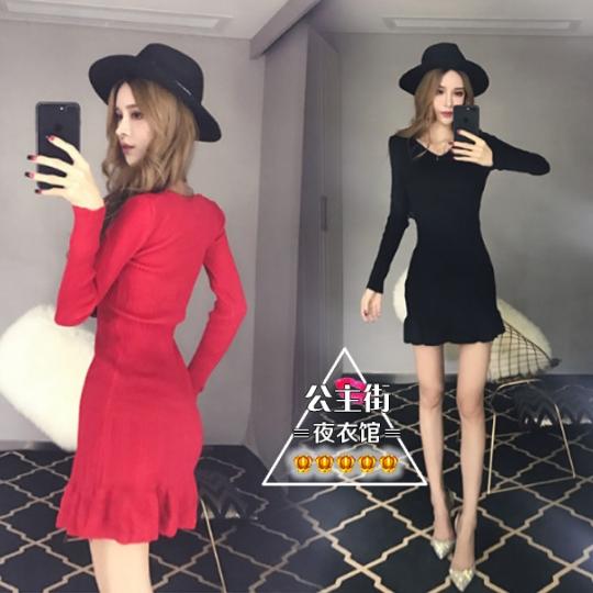 2017秋季新款時尚性感氣質V領長袖收腰顯瘦針織包臀魚尾連衣裙女