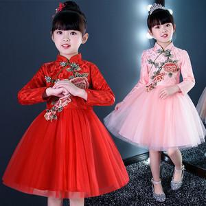 女童旗袍秋冬装儿童唐装女中国风拜年服新年装加绒中国风童装汉服