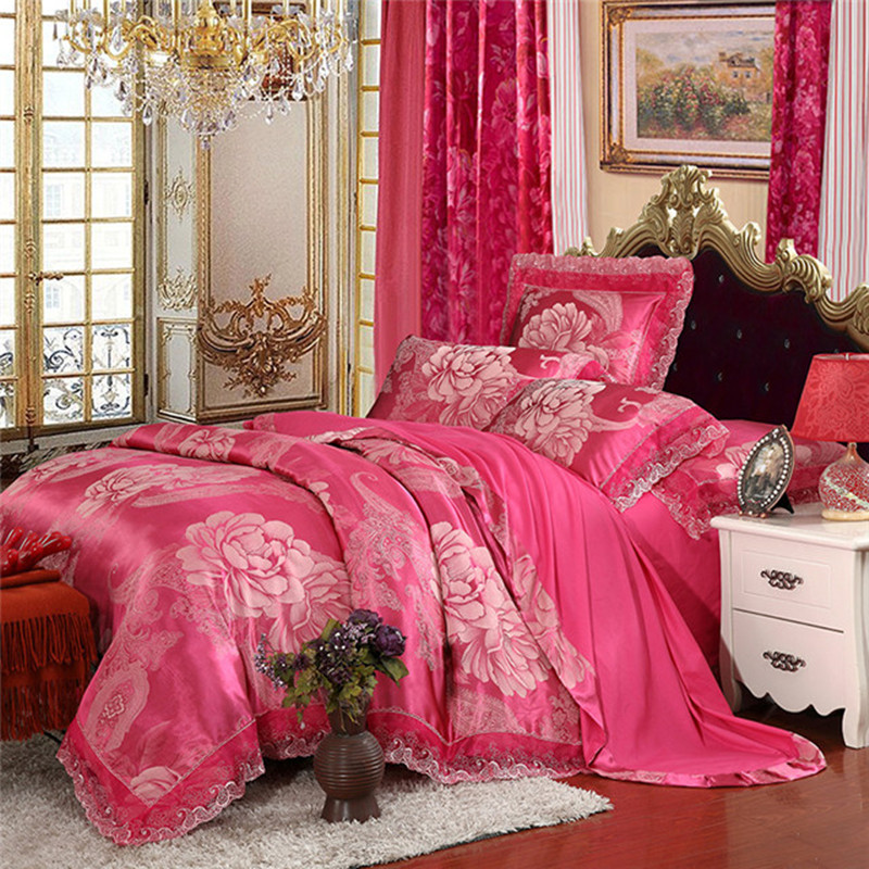2017 four sets of Tencel modal Satin Jacquard lace wedding style bedding nhe8673a