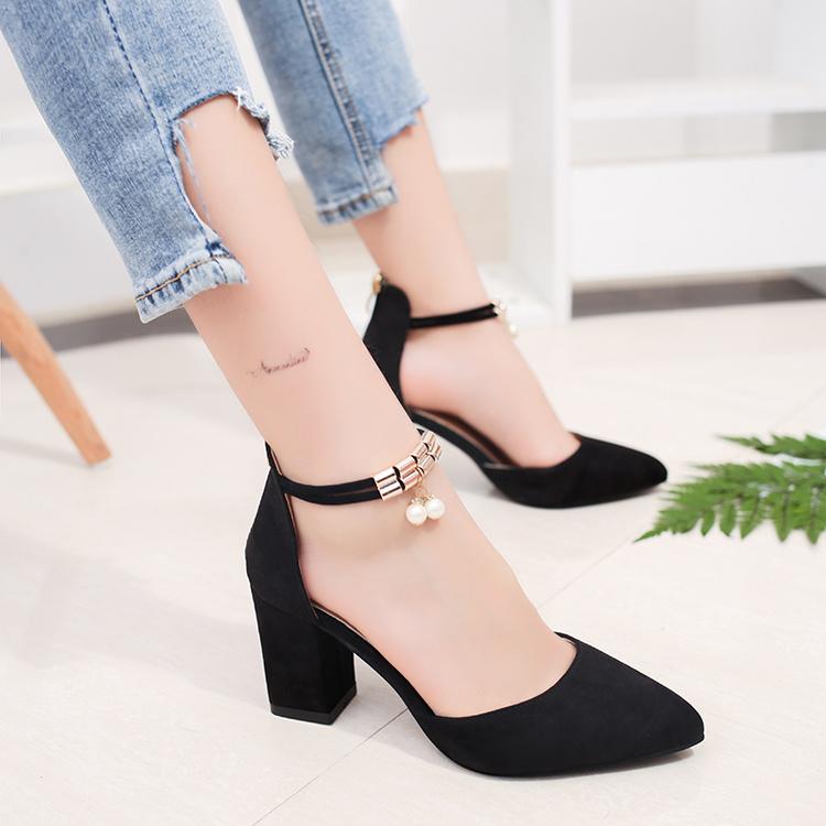 高跟鞋女夏季2017新款女鞋百搭粗跟鞋子韩版学生包头女士罗马凉鞋