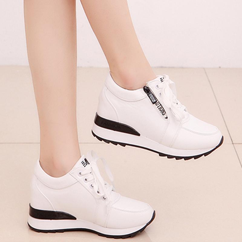天天特价内增高女鞋加绒韩版百搭小白鞋坡跟女单鞋厚底运动休闲鞋