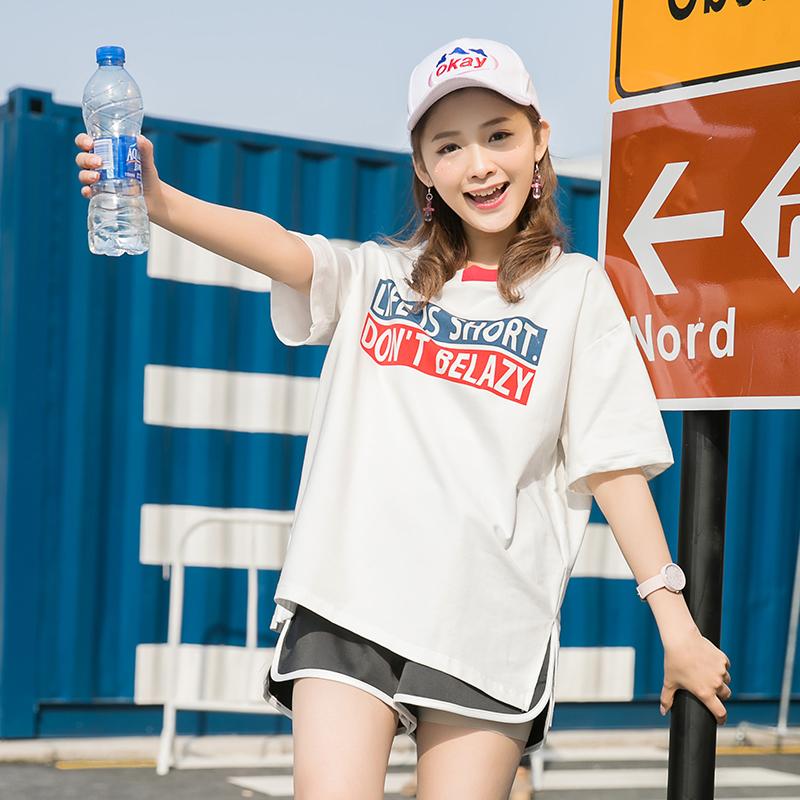 Áo T-shirt nữ cộc tay họa tiết chữ cái phối màu họa tiết in hoa tay lỡ phong cách Hàn Quốc dễ kết hợp kiểu dáng rộng rãi mẫu mới nhất