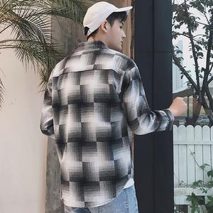 格子長袖襯衫男韓版薄款修身帥氣青少年學生寸衫港風男士襯衣558