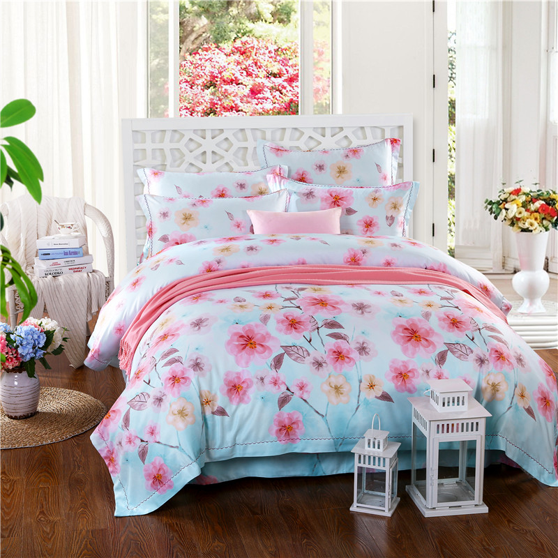 Four sets of spring sheets Tencel bedding wedding bed quilt special offer free shipping