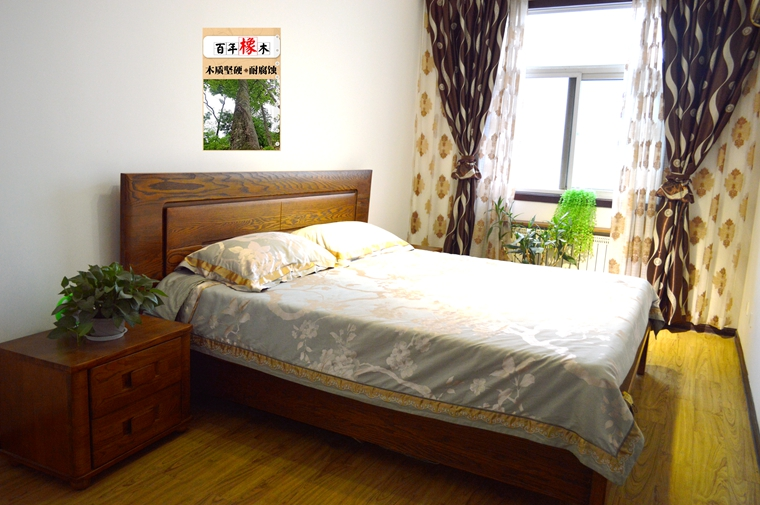 Special promotional solid wood double bed, high-end atmosphere, western red oak, low box furniture factory straight