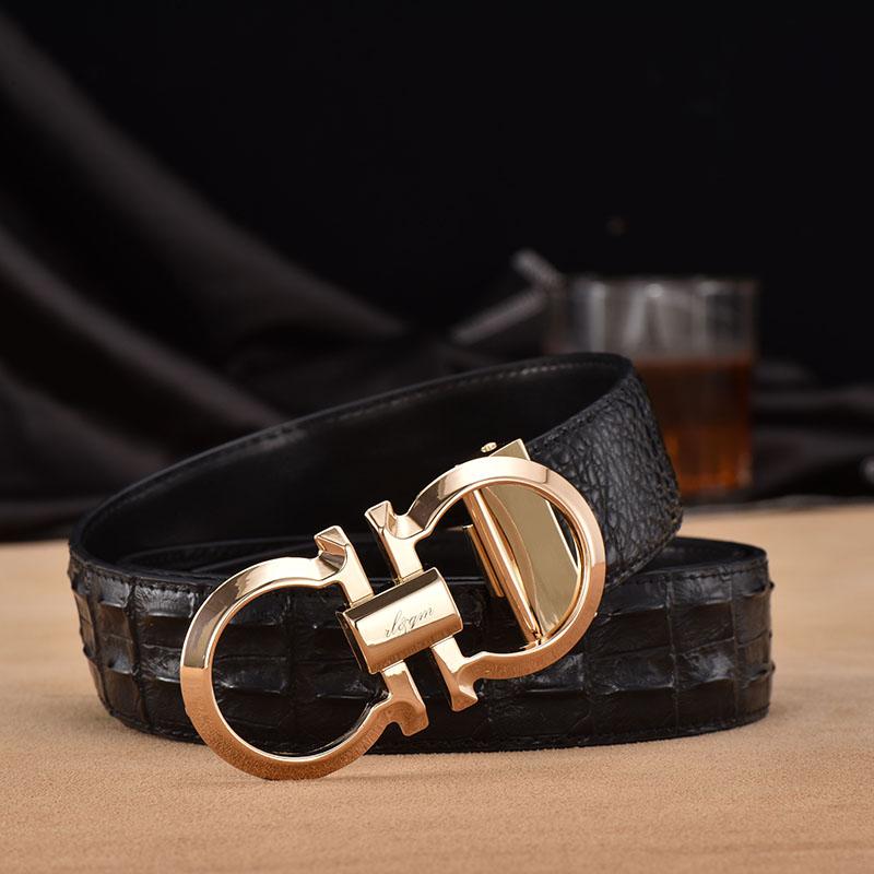 El cinturón de hebilla de cinturón de cuero suave de los jóvenes hombres de puro cuero hebilla de cinturón de ocio 8 letras tendencia v300
