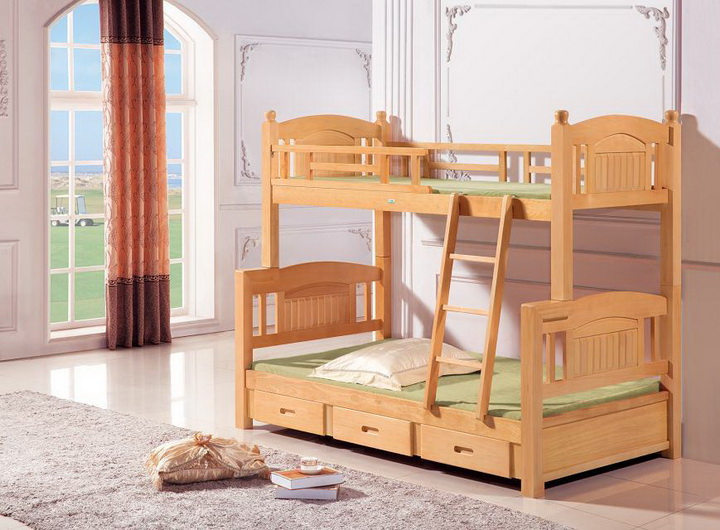 Garden 060 mother complex bed, pure birch double bed, all solid wood children bed bed bed board with high and low bed
