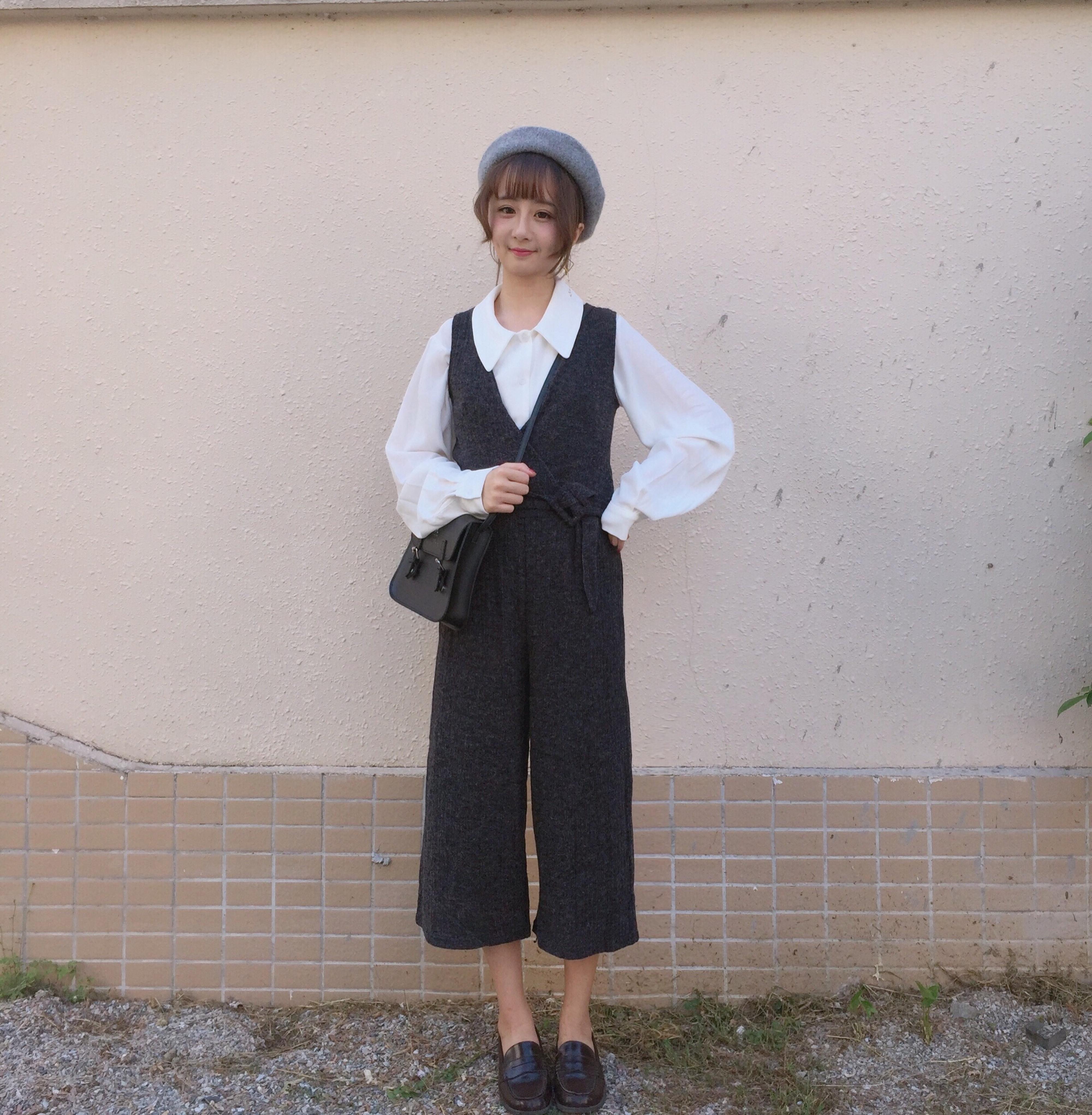 秋装新款韩版时尚气质前后深V领弹力系带显瘦阔腿裤背带连体裤女
