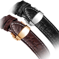 Fit Leather Watchband male alternative Longines m female alligator butterfly Mido Tissot watch strap watch strap buckle