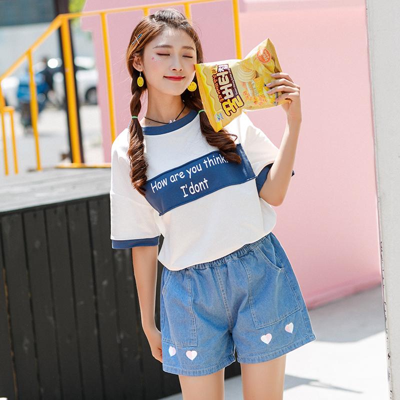 Áo T-shirt nữ cổ tròn cộc tay họa tiết chữ cái phối màu họa tiết in hoa màu trắng phong cách Hàn Quốc kiểu dáng đơn giản dễ kết hợp mẫu mới nhất