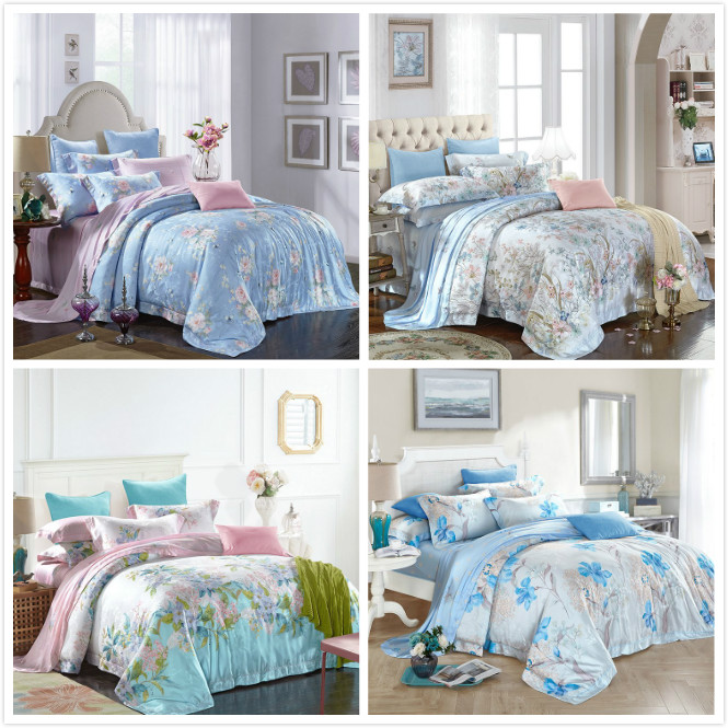 Cotton four piece Tencel jacquard printing 2.2/2.4 quilt textile bedding bedding cotton sheets