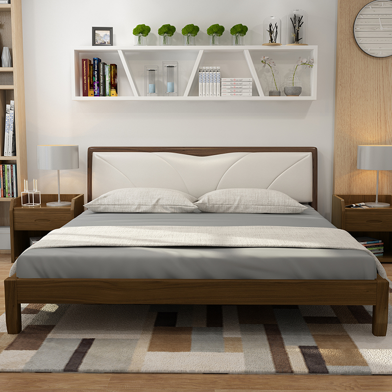 The real Jane 2 meters 2.2 meters double bed bed bed by modern leather soft 1.8/2.4 broadening