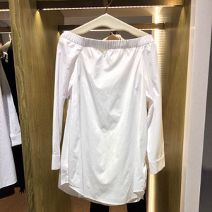 2017春款时尚气质一字领长袖系带百搭衬衫女上衣3A1C411