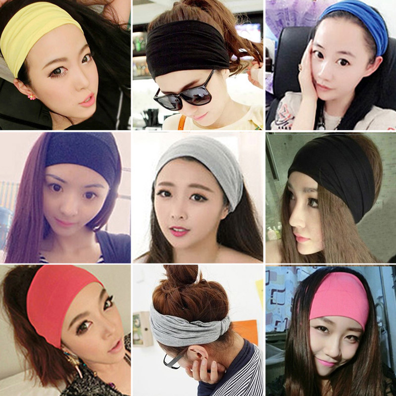 Korean hair lace scarf movement stone headband hoop head hoop card Yoga elastic bandage scarf
