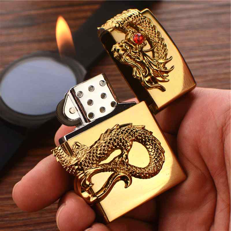 Isqueiro de metal Roda de fogo criativo cheios de personalidade Nobre homem de Letras EM relevo dragão presentes personalizados