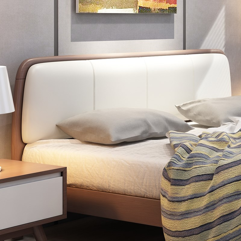 Modern minimalist home style 1.5m1.8 meters double bed, soft Nordic oak bed, oak bed, master bedroom, marriage bed