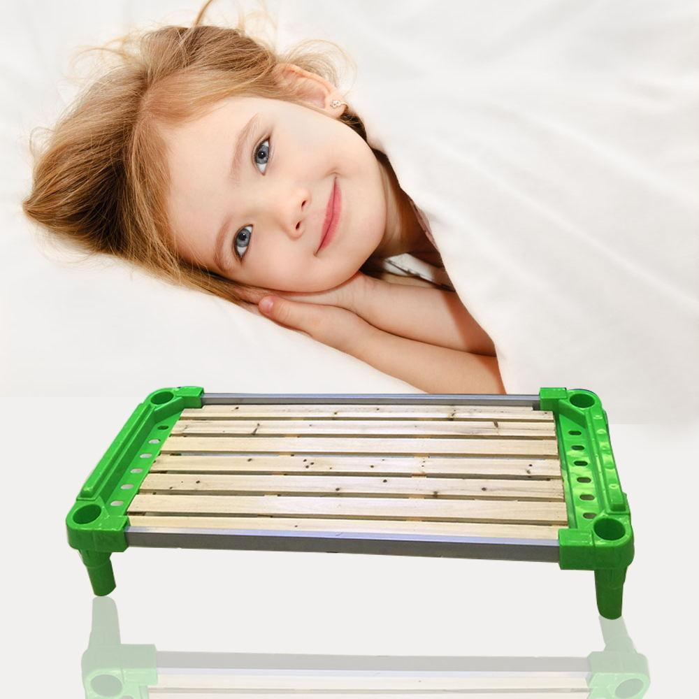 Kindergarten uses nap bed, children's single bed, baby folding lunch bed, baby whole plastic small bed rolling