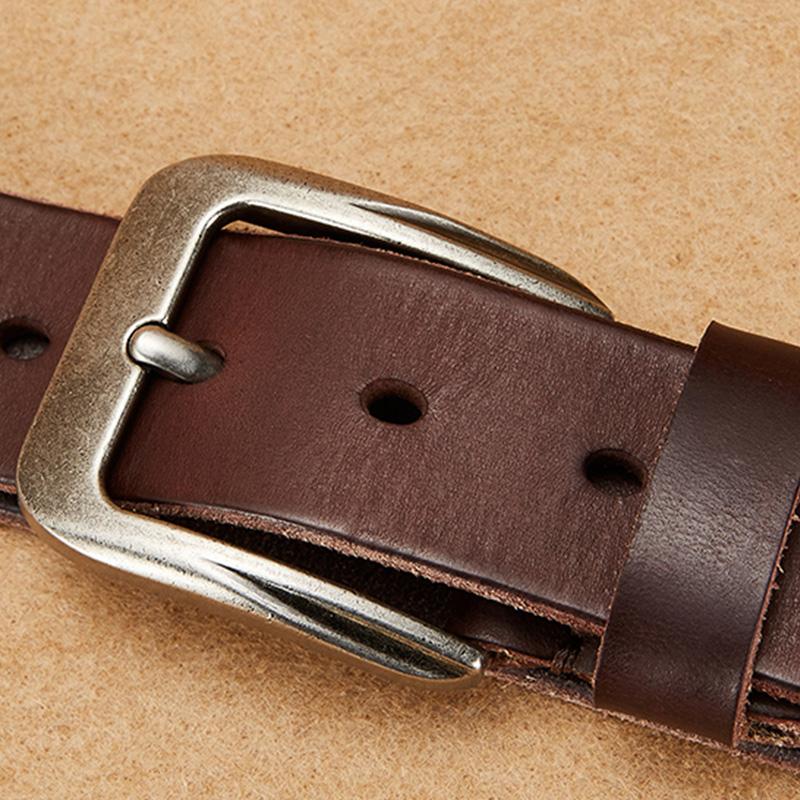 で見るとバイソンジーンズベルト紳士ベルト純牛皮頭階手作り靑年カジュアル針バックルベルト