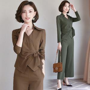闪电发货 套裙2018秋季两件套配腰带QSZDXW P140