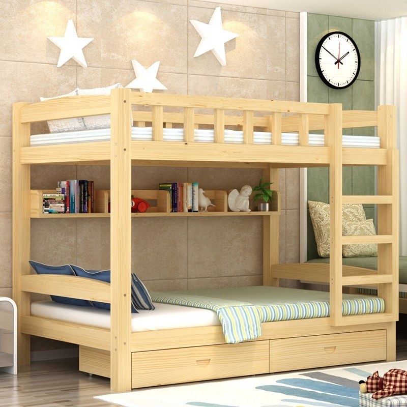 Wood Crib Bed bunk bed with bed bed and desk desk female combination bed adult double bed